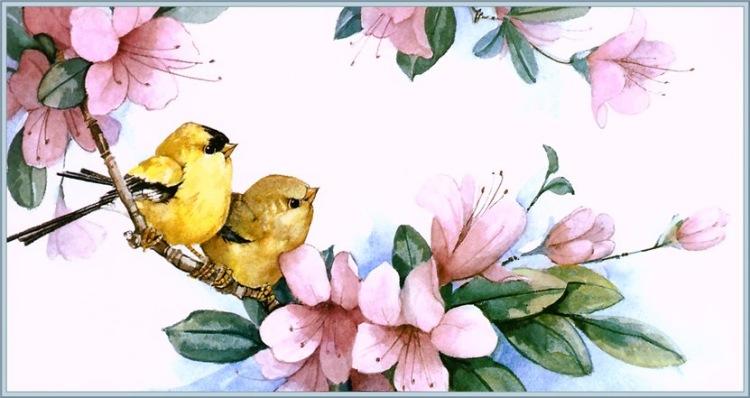 Птичка с цветком рисунок