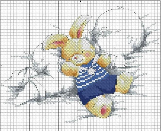 Схема вышивки крестом малыш с мишкой 12