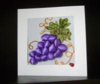 Вышивка винограда лентами