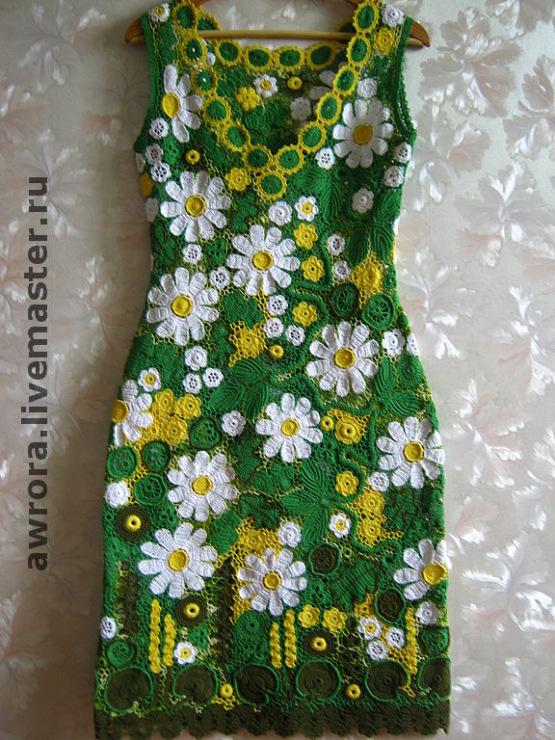 Вязание крючком платье в ромашках