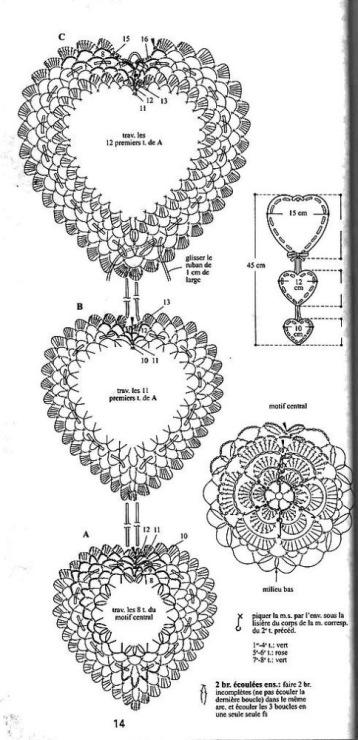 Вязание валентинок крючком схемы 96
