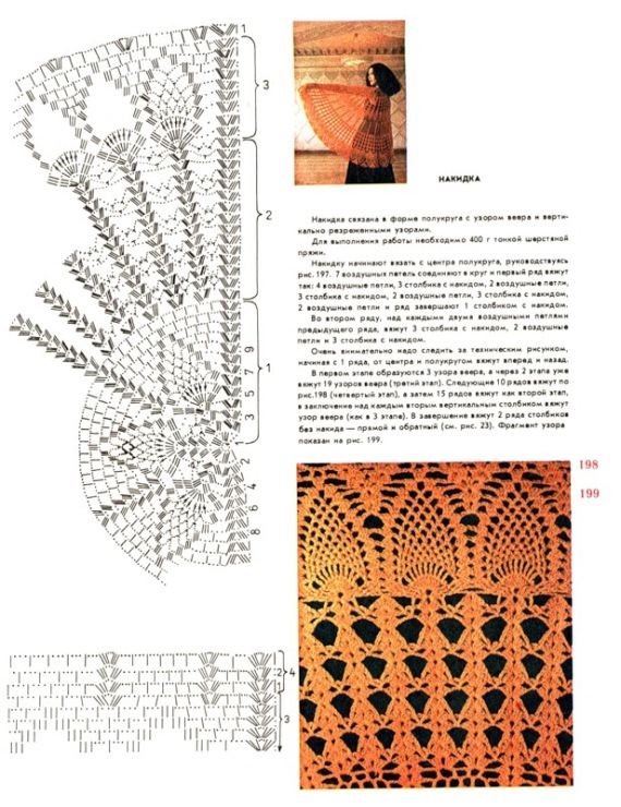 Вязание крючком полукруглых шалей 200
