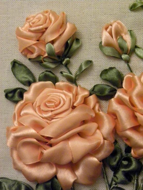 Вышивка лентами розы-мастер класс 46