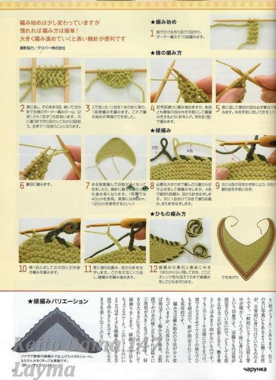 Вязание крючками платка треугольника