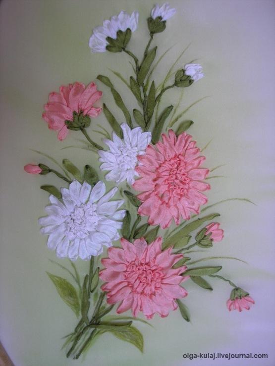 Хризантемы для вышивки лентами