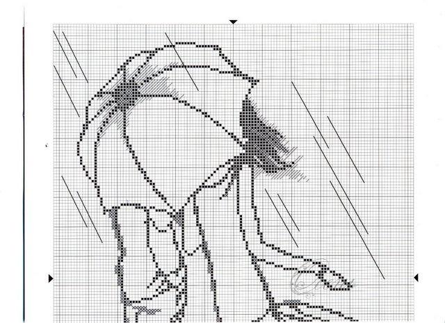 Схема вышивки крестом люди монохром 47
