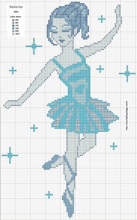 Схемы балерин вышивок крестом 218