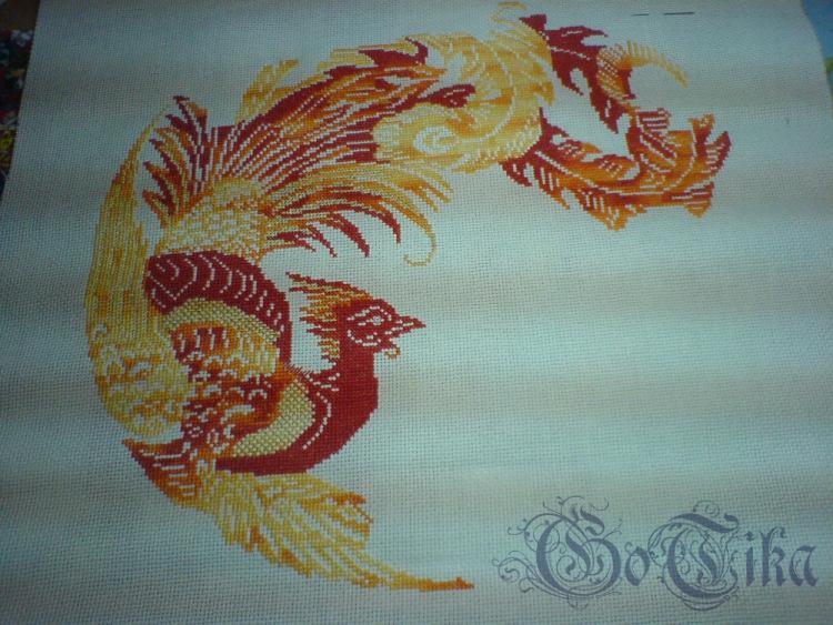 Вышивка драконы и фениксы
