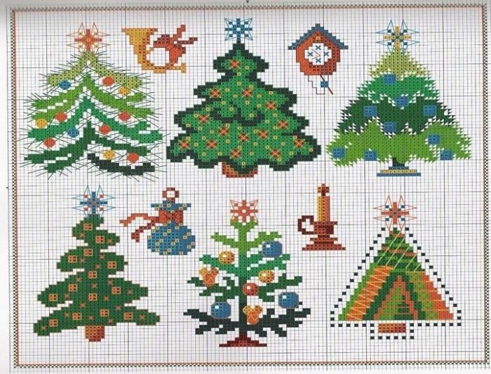 Схема вышивки крестиком елки 90