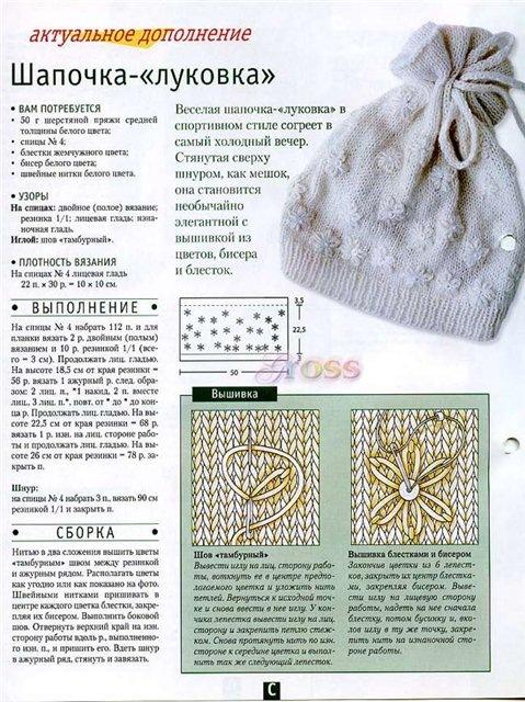 Схему вязания шапки для девочки спицами