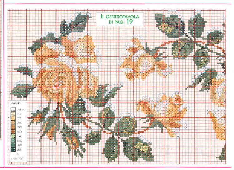 Подробные схемы вышивки крестом розы