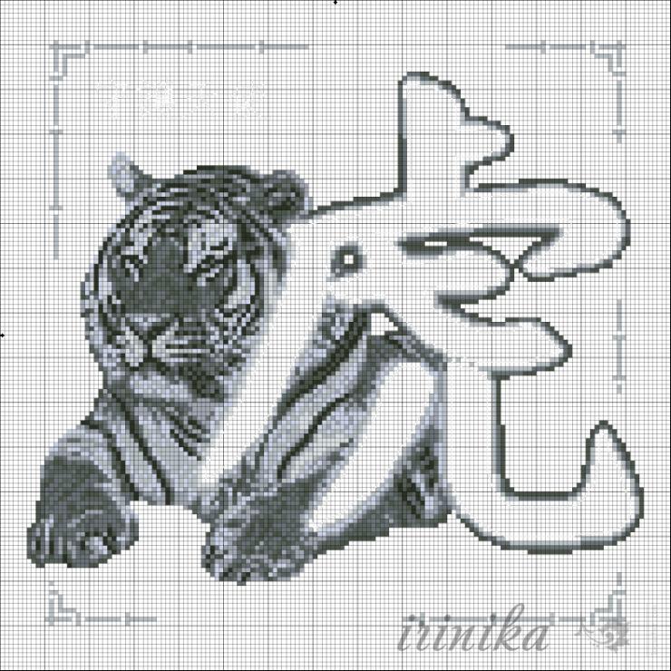 Вышивка крестом тигра схемы 24