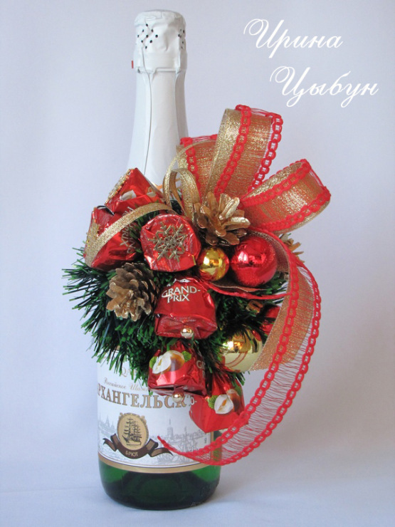 Оформление бутылки шампанского конфетами на новый год своими руками