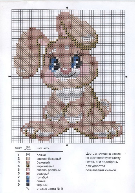 Схема вышивка крестом зайка 49