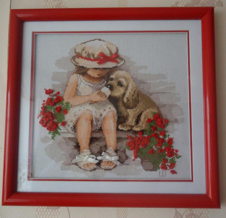 Вышивка девочка с собакой и мороженым