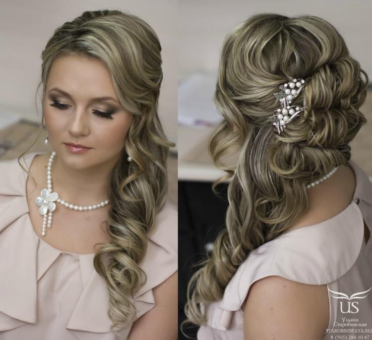 свадебные прически с накладными волосами на бок