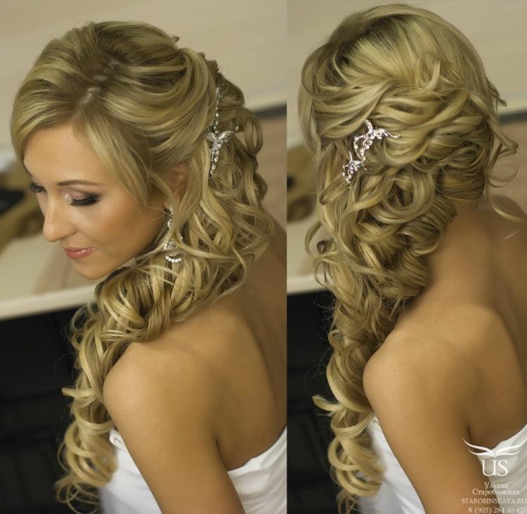 Свадебные прически с гребнем в распущенных волосах