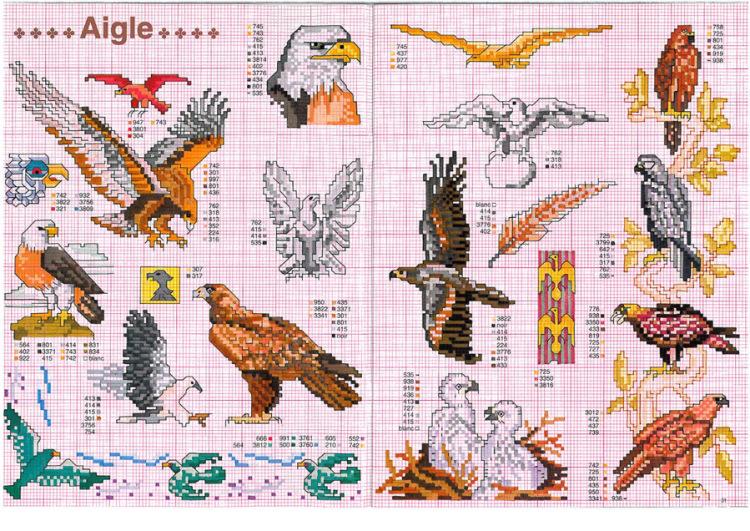 Вышивка крестом орел схема 412