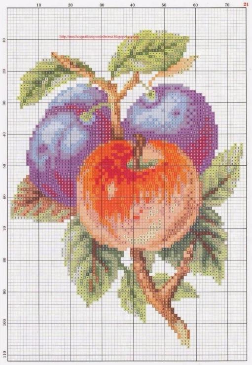 Вышивка схема яблок 56