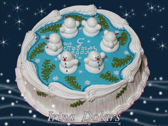 Новогодние кремовые торты фото