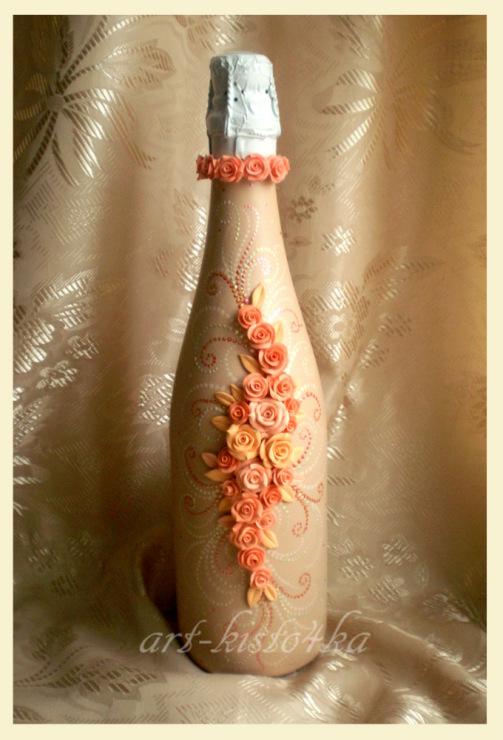 Декорирование бутылок цветами своими руками 5